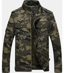 uomo giacca militare sicolta in cotone con stampa camuffamento con carré