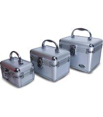 kit 3 maletas rubys alumãnio organizadoras para maquiagem e jã³ias prata - prata - feminino - dafiti