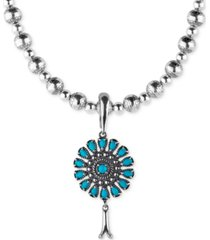 "american west turquoise blossom pendant necklace (3-1/3 ct. t.w.) in sterling silver, 17"" + 3"" extender"