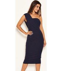 ax paris women's one shoulder wrap midi dress