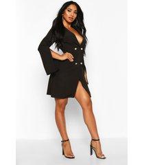 woven double breasted split sleeve blazer dress, black