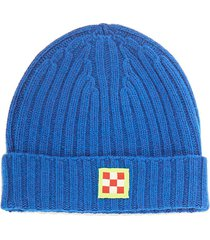 cashmere blend bluette hat with check patch