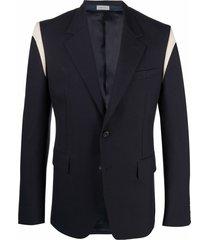 alexander mcqueen panelled wool blazer - blue