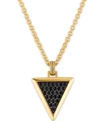 """esquire men's jewelry black sapphire triangle 22"""" pendant necklace (1-3/8 ct. t.w.) in 14k gold-plated sterling silver, created for macy's"""