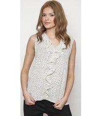 blusa sin mangas con volantes blanca 609 seisceronueve