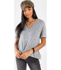 linn high low ribbed knit tee - heather gray