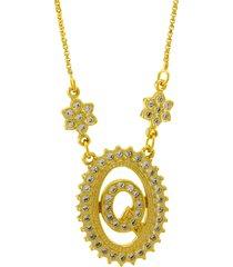 colar horus import letra q zircônias dourado