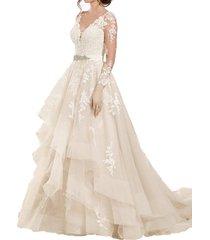 blevla v-neck long sleeves lace wedding dresses bridal gowns white us 6