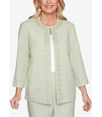alfred dunner women's missy springtime in paris scroll embroidered jacket