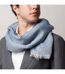 sciarpa da uomo, maalbi, lino seta azzurra, primavera estate | lanieri