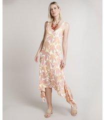 vestido feminino midi estampado de folhagem assimétrico alça média off white