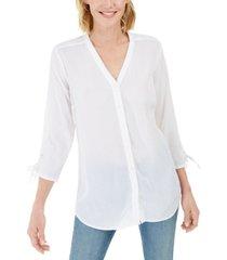 charter club gauzy tie-sleeve blouse, created for macy's