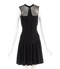 saint laurent black sheer sleeveless pleated dress black sz: unknown