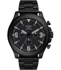 fossil men's latitude black-tone bracelet watch 50mm