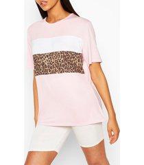 lang t-shirt met luipaard colourblocking, roze