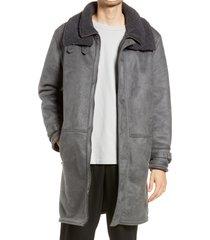 men's topman longline faux shearling jacket, size xx-large - grey