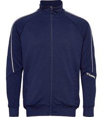 hmlamos zip jacket sweat-shirt tröja blå hummel