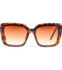 womens leopard on the street square sunglasses - brown