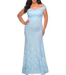 plus size women's la femme stretch lace off-shoulder dress with train, size 14w - blue
