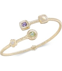 multi-gemstone (1-1/3 ct. t.w.) & diamond (1/8 ct. t.w.) hinged bypass bracelet in 14k gold-plated sterling silver