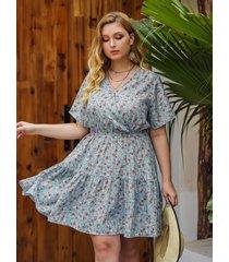 plus talla azul tira elástica calicó escote en v manga corta vestido