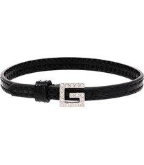 gucci crystal logo buckle bracelet - black