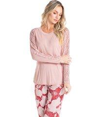 pijama longo estampado com renda carla