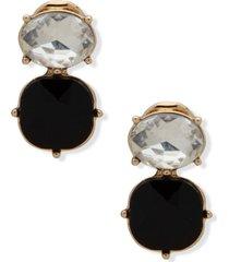 anne klein gold-tone two stone clip-on drop earrings