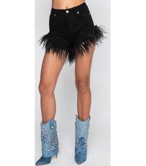 akira black feather shorts