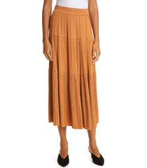 a.l.c. thea plisse tiered skirt, size 4 in cashew at nordstrom