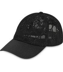 gucci logo mesh baseball cap - black