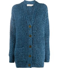 coach chunky open-knit cardigan - blue