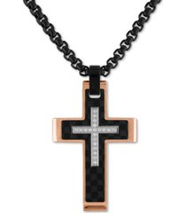 "esquire men's jewelry diamond cross 22"" pendant necklace (1/10 ct. t.w.) in stainless steel, black carbon fiber & rose ion-plate, created for macy's"