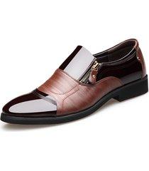 scarpe formali a punta con zip laterale in mix colore