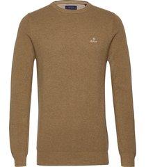 cotton pique c-neck gebreide trui met ronde kraag bruin gant