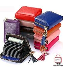 portafoglio in pelle vera e rfid antimagnetico con fiocco 15 card slots