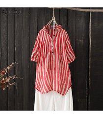 zanzea las mujeres de manga corta a rayas tapas de la camisa del verano da vuelta dow collar de la blusa de la raya -rojo