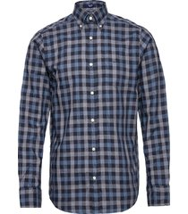 d1. tp oxf heather gingham reg lbd overhemd casual blauw gant