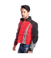 jaqueta casaco nylon para motociclista moto com air bag esportiva sport qualidade vermelho