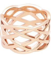 anello in acciaio rosato intrecciato per donna