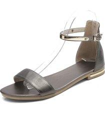 sandali con fibbia in vera pelle con cinturino alla caviglia