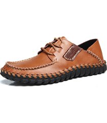 scarpe casual stringate da uomo in morbida pelle di vacchetta cucita a mano