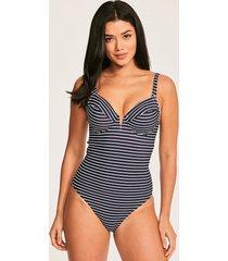 castaway stripe underwire v plunge tummy control one-piece swimsuit d-gg