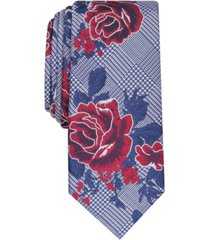bar iii men's crest skinny floral plaid tie, created for macy's