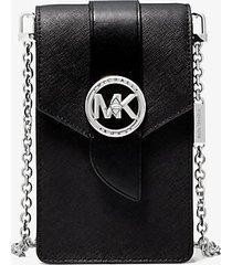 mk borsa a tracolla piccola in pelle saffiano per smartphone - nero (nero) - michael kors