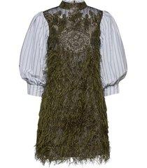 feathery cotton jurk knielengte groen ganni
