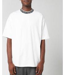 acne studios men's logo jacquard t-shirt - optic white - xl