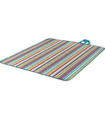oniva by picnic time aqua blue striped vista outdoor blanket tote