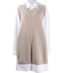 maison margiela jumper-effect shirt dress - neutrals