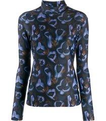 delada floral funnel-neck top - blue